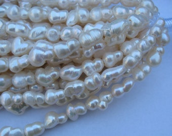 Large Hole Pearls 15mm x 10mm mm  baroque  peanut Fresh Water Pearl   strand FREE Shipping