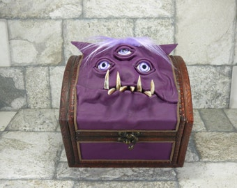 Goblin Monster Storage Wooden Box Purple Leather Harry Potter Desk Accessory Treasure Chest Trunk Pencil Box MTG Card Storage