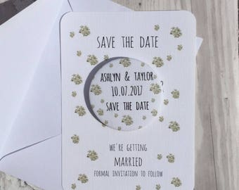 Save the Date Magnet Silver China Flowers