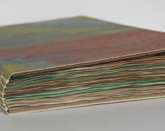 Painted Page Journal, rainbow pages with long-stitch binding