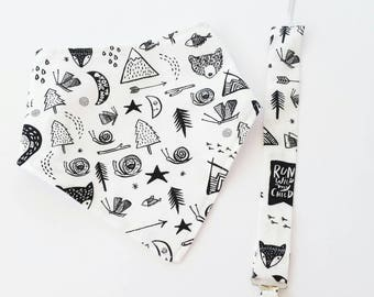 Bandana Bib, Natural Teething Ring with Bunny Ears and Pacifier Clip in Monochrome Woodland Wild Child. Gender Neutral Baby Gift Set.