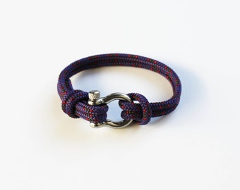 Bow Shackle Nautical Bracelet - Purple