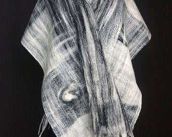 White. Black. Shimmery Cobweb Felted Scarf. Silk Highlights. Fringe.
