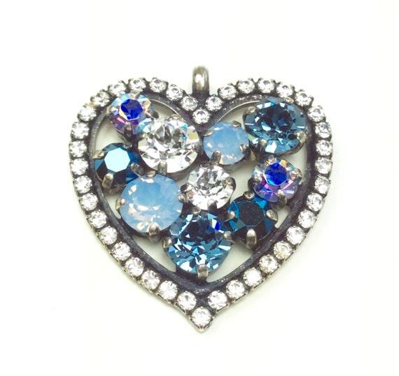 Swarovski Crystal - Heart Shaped - Add-On Charm - in Denim Blue, Lt.SapphireAB, Crystal & Met. Blue - FREE SHIPPING - SALE - 35.