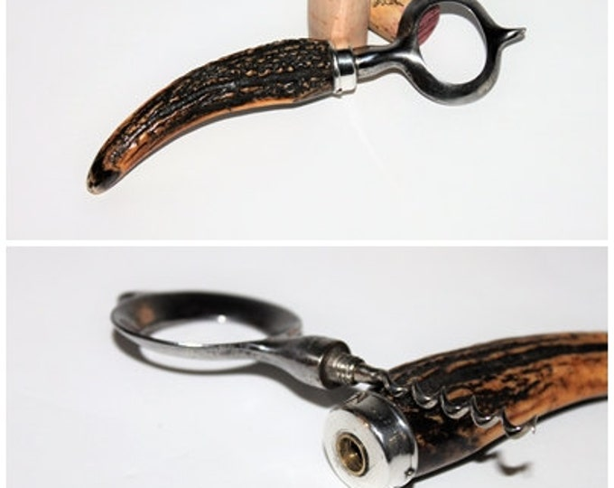 Antique 1906 John Hasselbring's Patented Bottle Opener with Hidden Corkscrew made of Stag Horn & Sterling Silver