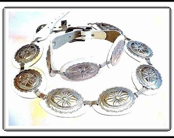 Silvertone Concho Belt -  Concho Studded  White Leather  - Belt-1036a-020617015