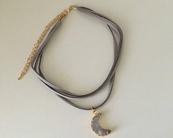 Druzy Moon Choker Necklace // 3 Strand Choker