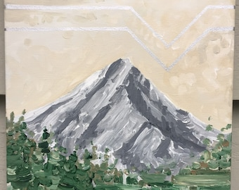 Original Mountain Painting on Canvas // 'Mt. Hood in Silver'