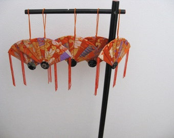 Ornament ,silk obi fabric,Folding fan、orange