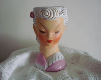 Mid Century Teen LADY HEAD VASE- White & Gold Hair with Pink Rose- Pretty!