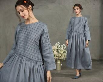 Maxi Linen Dress, Maxi Smoky Gray Dress, Pintuck Dress, Grey Linen Dress, Drawstring Wasit Dress, Drop Shoulder Long Sleeve, Oversize Loose