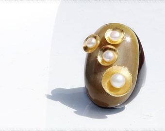 Bague chevalière aux 5 perles
