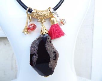 Black Quartz Necklace, Black Stones Pendant,BlackLeather Necklace,Turkish Jewelry,Magnet Clasp Necklace, Women Fashion,Best Friend, Birthday