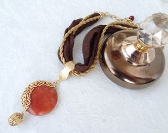 Brown Turkish Silk Necklace,Orange Agate Pendant,Gold Frame Necklace,Stone Jewelry,Bredesmaid Gift,Elegance Necklace,Mother's Day Gifts