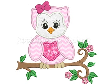 Zoo Baby Owl with Bow Branch Applique Machine Embroidery Design Woodland Bird Cute Animal Girl  INSTANT DOWNLOAD