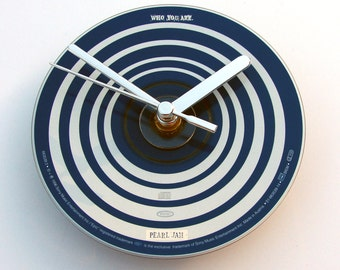"PEARL JAM CD Clock, "" Who Are You "", Recycled music cd single, Gift for, men, women, guys, rockers, blue and white, swirls, optical, circles"