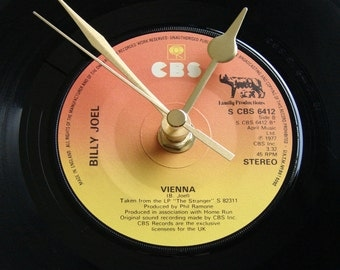 """BILLY JOEL, Vinyl Record CLOCK, """"Vienna"""", made from a recycled 7"""" single, retro 1980s, music, orange yellow, ombre 80s wall"""