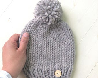 SUMMER SALE | Pompom Kids Knit Chunky Slouchy Kids Hat Sand Colour Toque with Pompom baby toddler kid child's boy or girl hat