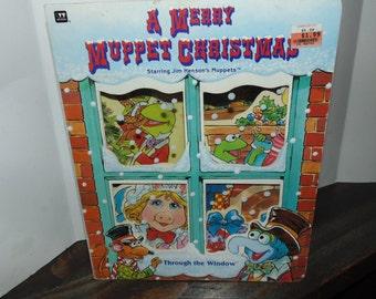 Vintage 1993 A Merry Muppet Christmas Through The window Book Jim Henson Kermit Miss Piggy