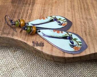 Rustic Assemblage Tribal *Birds of Paradise* earrings n28- Bird Motif . Mystic Colorful Vintage Rare Tin Jewelry . Festive Long  Exotic Bird