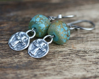 Rustic Bohemian Cross in Sterling silver and watered artisan lamp work bead earrings- ocean bohemian . rustic cross . delicate cross .  boho