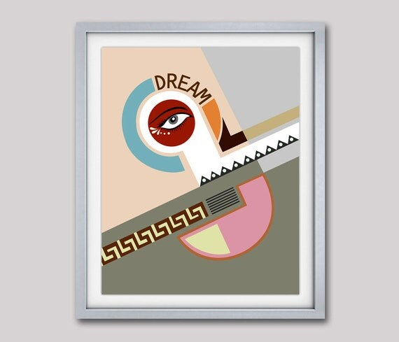 Typography Poster Art Print, Bauhaus Poster, Abstract Art, Cubist Painting, Geometric Art Print, Minimalist Art Poster