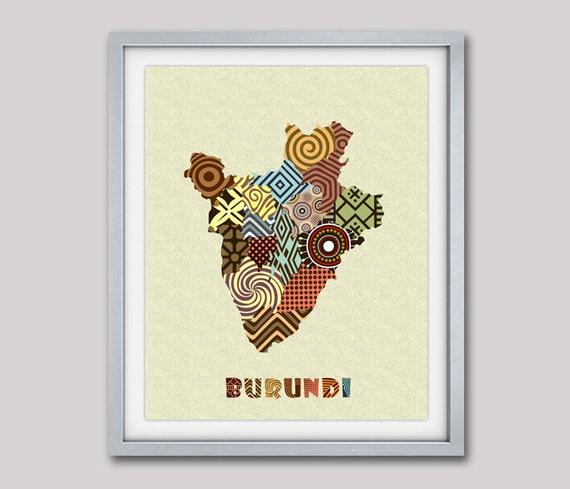 Burundi Map Art Print Wall Decor, Burundi  Poster, Bujumbura Burundi  East Africa,  African Art Print, African Map Poster