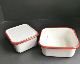 Red and White Enamelware Containers