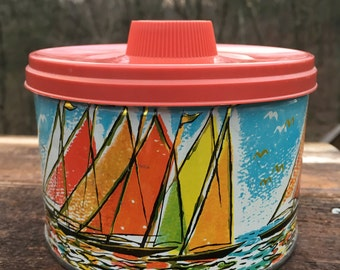 Retro Candy Tin Colorful Sailboats Kitchen Decor