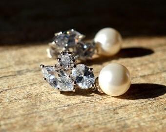 Sophisticated cubic zirconia earrings Pearl drop earrings Sparkly CZ cluster earring Dangle pearl earrings Special occasion wedding jewelry