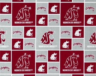 Washington Cougars, Washington State University, WSU Cougars, 100% Cotton Fabric, Quilting Fabric, By the Half Yard