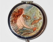 Mermaid with Fish Compact Mirror - Nautical Beach Ocean Sea Siren Mermaids - Make Up Pocket Mirror for Cosmetics