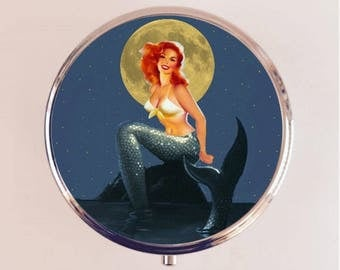 Mermaid Moonlight Pill Box Case Pillbox Holder Trinket Stash Box Pin Up Pinup Retro Mermaids
