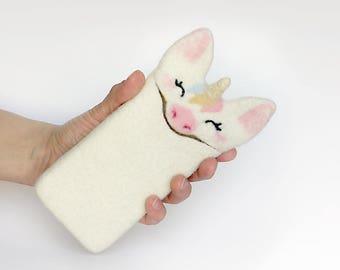 Unicorn, felt sleeve for iPhone 7 with thin case, felted Unicorn, felt animal, handmade gift