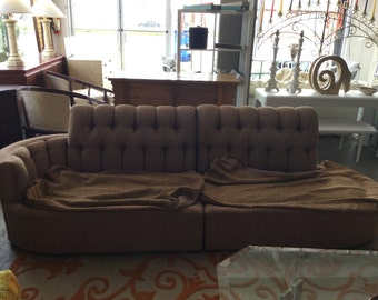 1950's Hollywood Regency  Pink Boucle Tufted Sofa