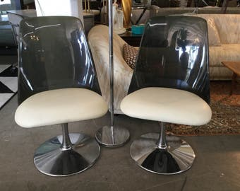 SALE Saarinen Style Smoked Lucite aNd Chrome Chairs, Pair