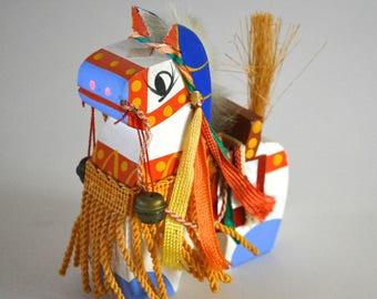Chagu-chagu Umaku horse doll, vintage Japanese mingei folk craft #25
