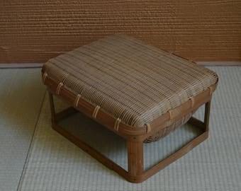 Bamboo basket, lidded, vintage Japanese basket