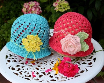 Crochet Pattern, Two Summer Hats, Size 3 to 5 Years Old
