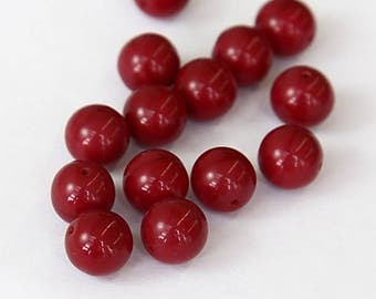 Opaque Dark Red Czech Glass Beads, 10mm Round Druk - 25 pcs - e9322-10r