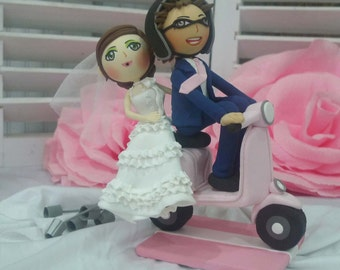 Vespa wedding cake topper clay doll pink wedding theme, bride is in gorgeous clay miniature, clay figure anniversary decoration, clay couple