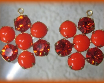 Bright Orange Hyacinth 24MM Rhinestone Round 7 Multi Stone Brass Pendant