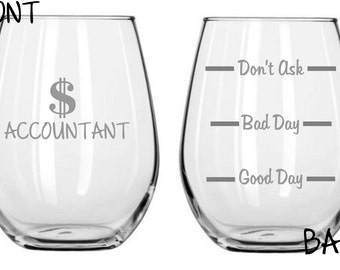 Accountant Sand Carved Glass FREE Personalization