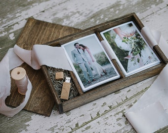 Double 4x6 - Wood print box for 4x6 photos and usb drive - (spanish moss included)