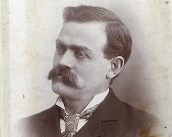 Mustache Victorian Man's Man Hottie Vintage Photo Cabinet Card
