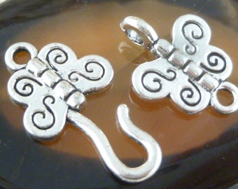 Butterlfy Hook and Eye Clasp Closure, Antique Silver (3 sets) - SF19