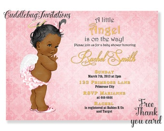 African American Pink Girl Baby Shower Invitation | Pink Angel Baby Girl Baby Shower | Heaven Sent Baby Shower Invitation Printable