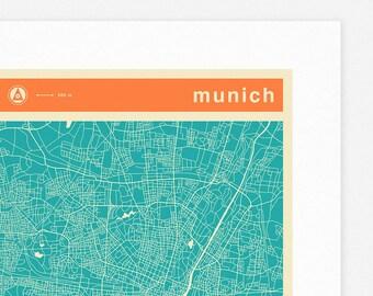 MUNICH MAP (Giclée Fine Art Print, Photographic Print or Poster Print) colored version