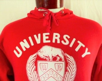 go UB Bulls vintage 90's State University of New York at Buffalo red fleece hoodie graphic sweatshirt pullover jumper white crest seal logo