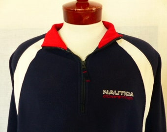 vintage 90's Nautica Competition colorblock navy blue red white reverse pile fleece sweatshirt jacket raglan half zip embroidered logo Large